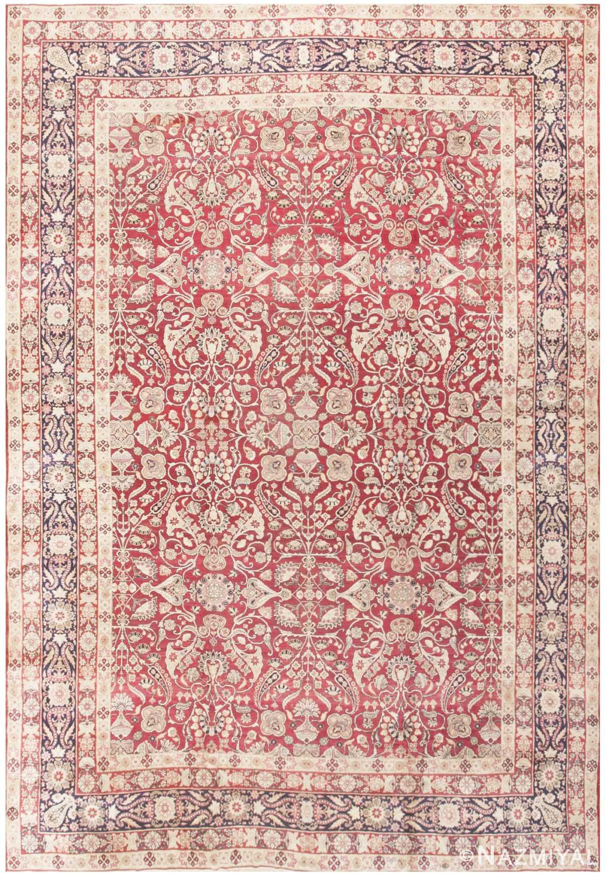 Fine Red Antique Floral Kerman Rug 50370 Nazmiyal