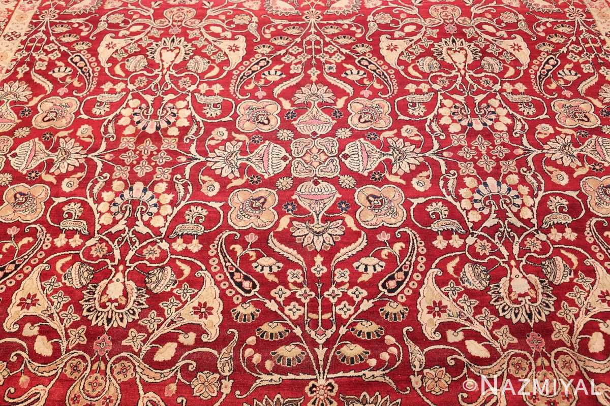 fine red antique floral kerman rug 50370 field Nazmiyal