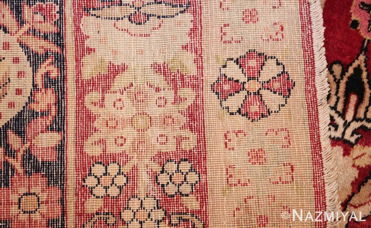 fine red antique floral kerman rug 50370 weave Nazmiyal