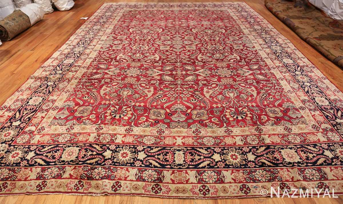 fine red antique floral kerman rug 50370 whole Nazmiyal