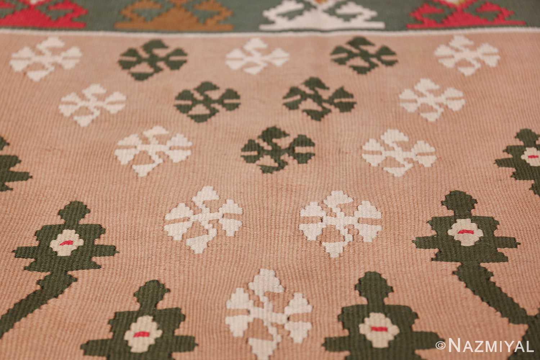 flat woven vintage bessarabian kilim rug 50433 closeup Nazmiyal