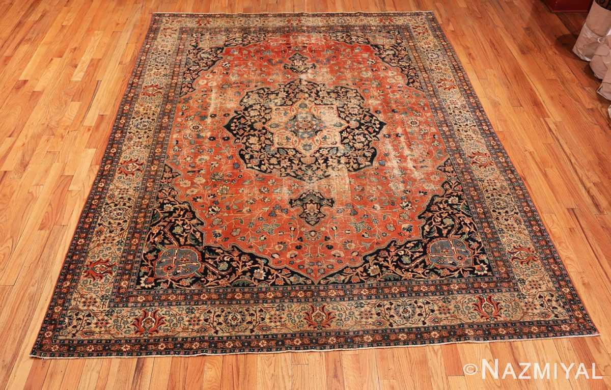 Full Beautiful Shabby chic Antique Persian Tabriz rug 47294 by Nazmiyal