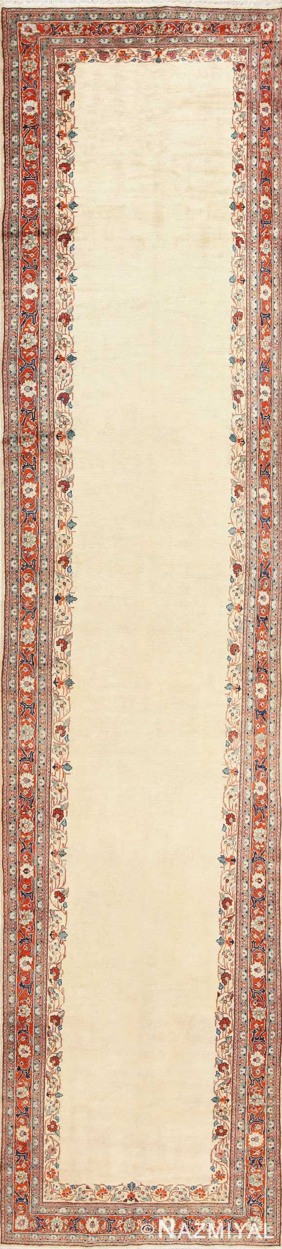 Ivory Antique Persian Sultanabad Runner Rug 50412 Nazmiyal
