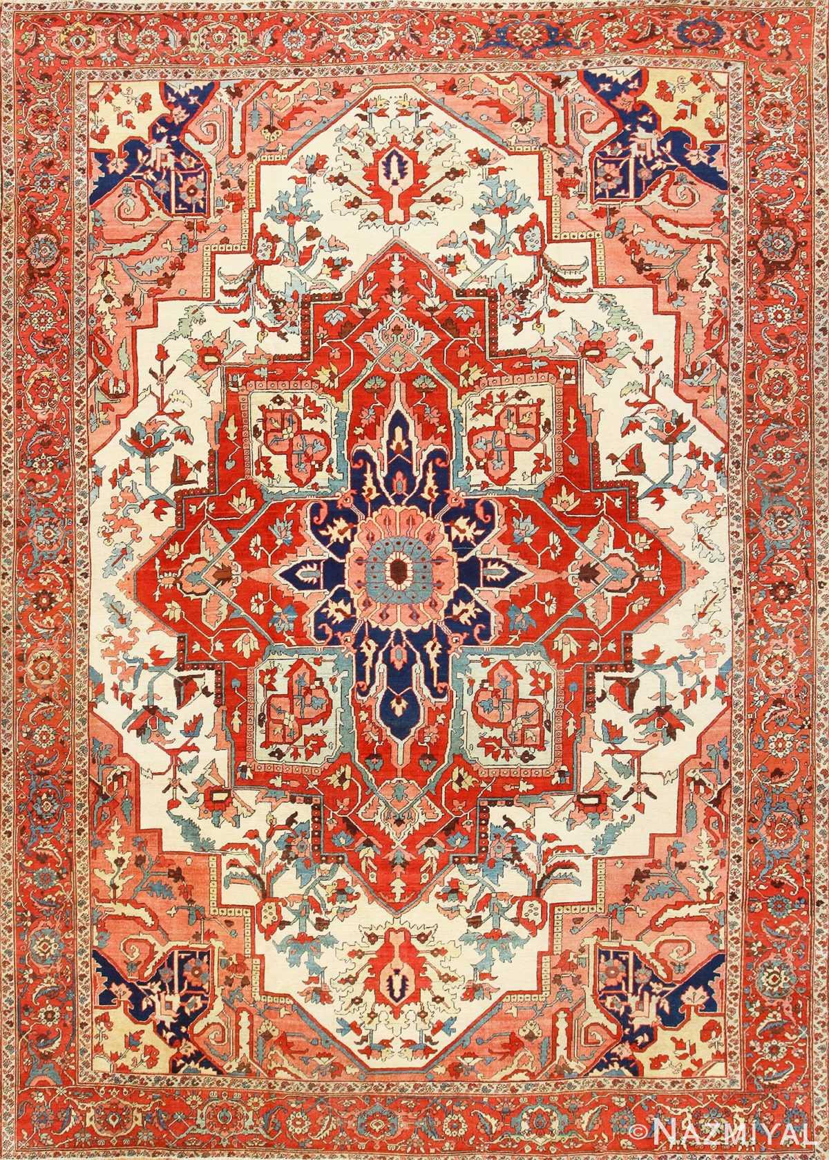Large Antique Persian Heriz Serapi Rug 48645 Nazmiyal