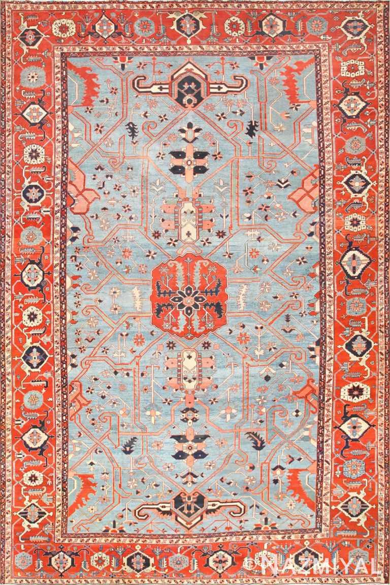 Large Light Blue Antique Persian Heriz Serapi Rug 48643 Detail/Large View