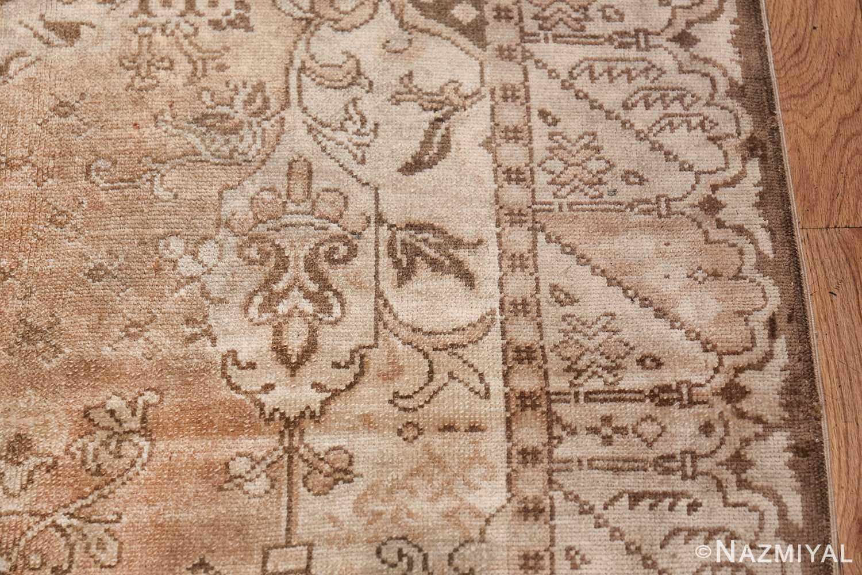 Neutral Antique Turkish Ghiordes Oushak Rug 50290 Border Design Nazmiyal