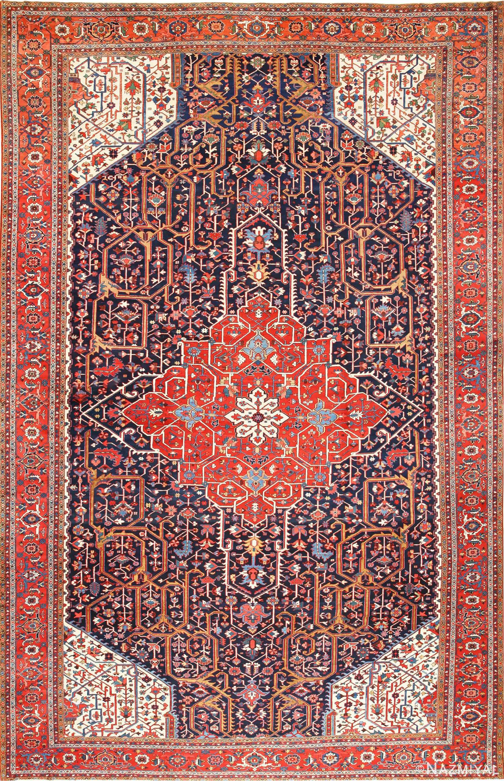 Oversize Antique Persian Heriz Serapi Rug 48677 Nazmiyal