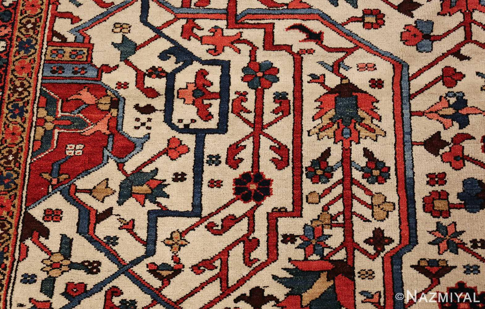 oversize antique persian serapi heriz rug 48677 ivory Nazmiyal