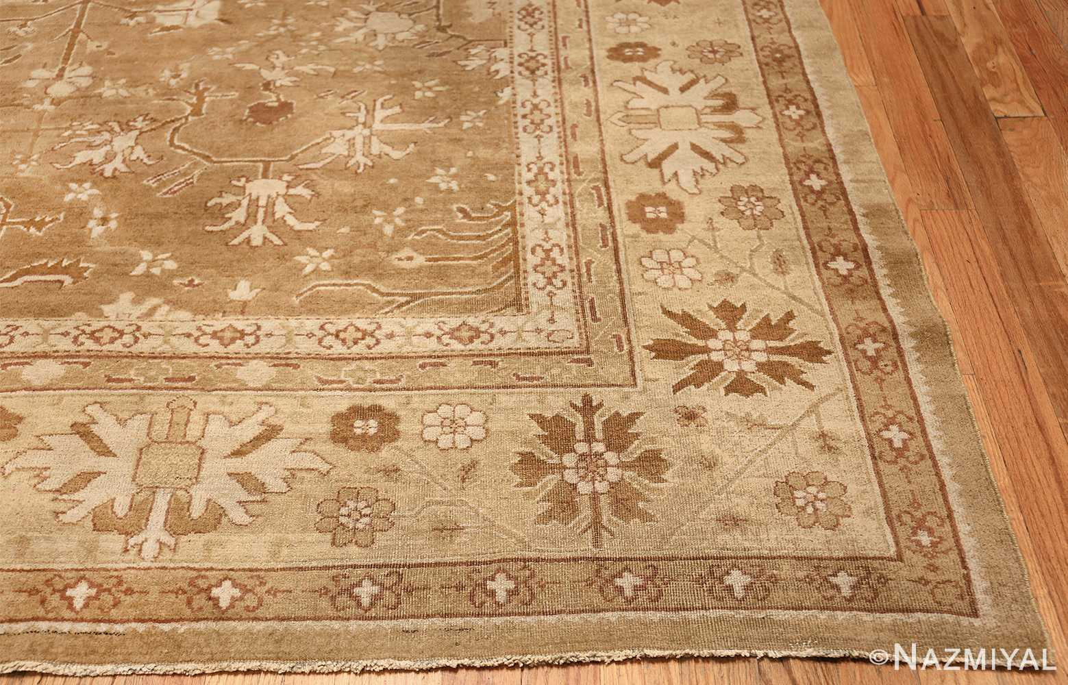 Rare Moss Green Antique Indian Amritsar Rug 50378 Side Corner Nazmiyal