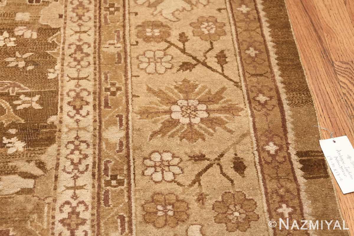 Rare Moss Green Antique Indian Amritsar Rug 50378 Tiny Border Flowers Nazmiyal