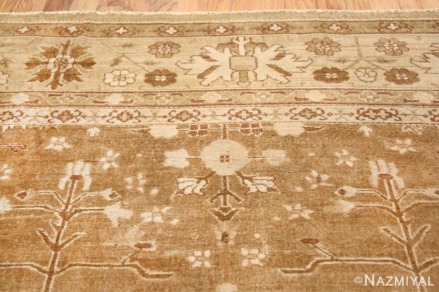 Rare Moss Green Antique Indian Amritsar Rug 50378 Upper Flower Nazmiyal