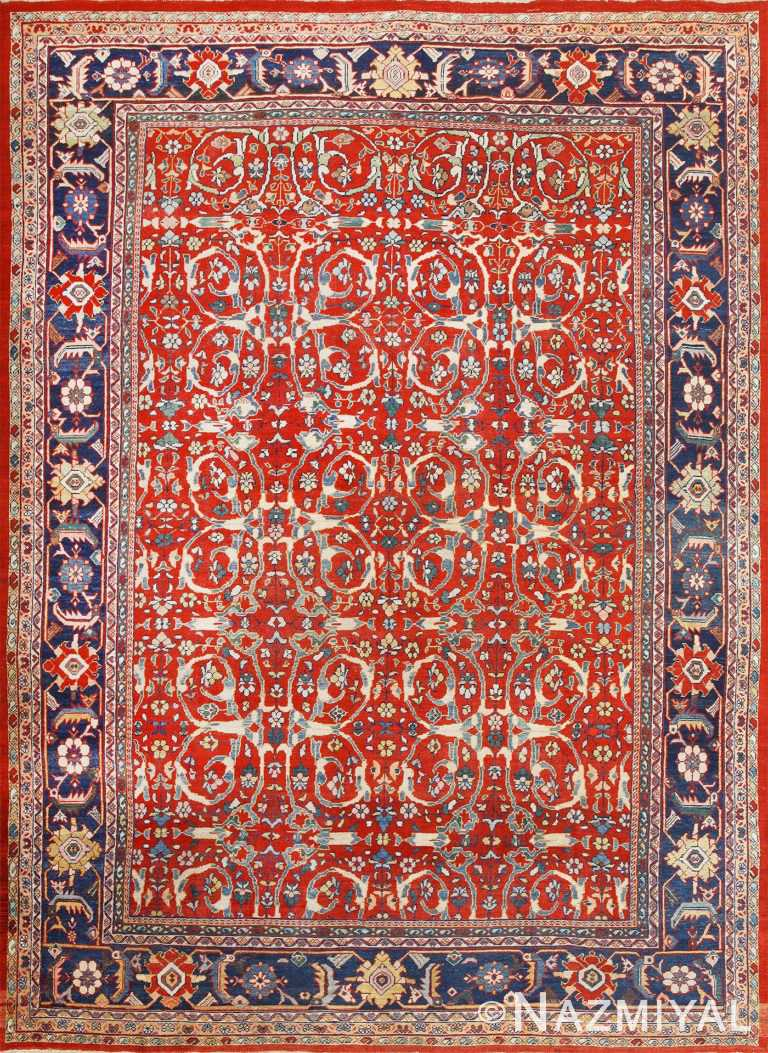 Red Antique Persian Mahal Sultanabad Rug 50442 Nazmiyal
