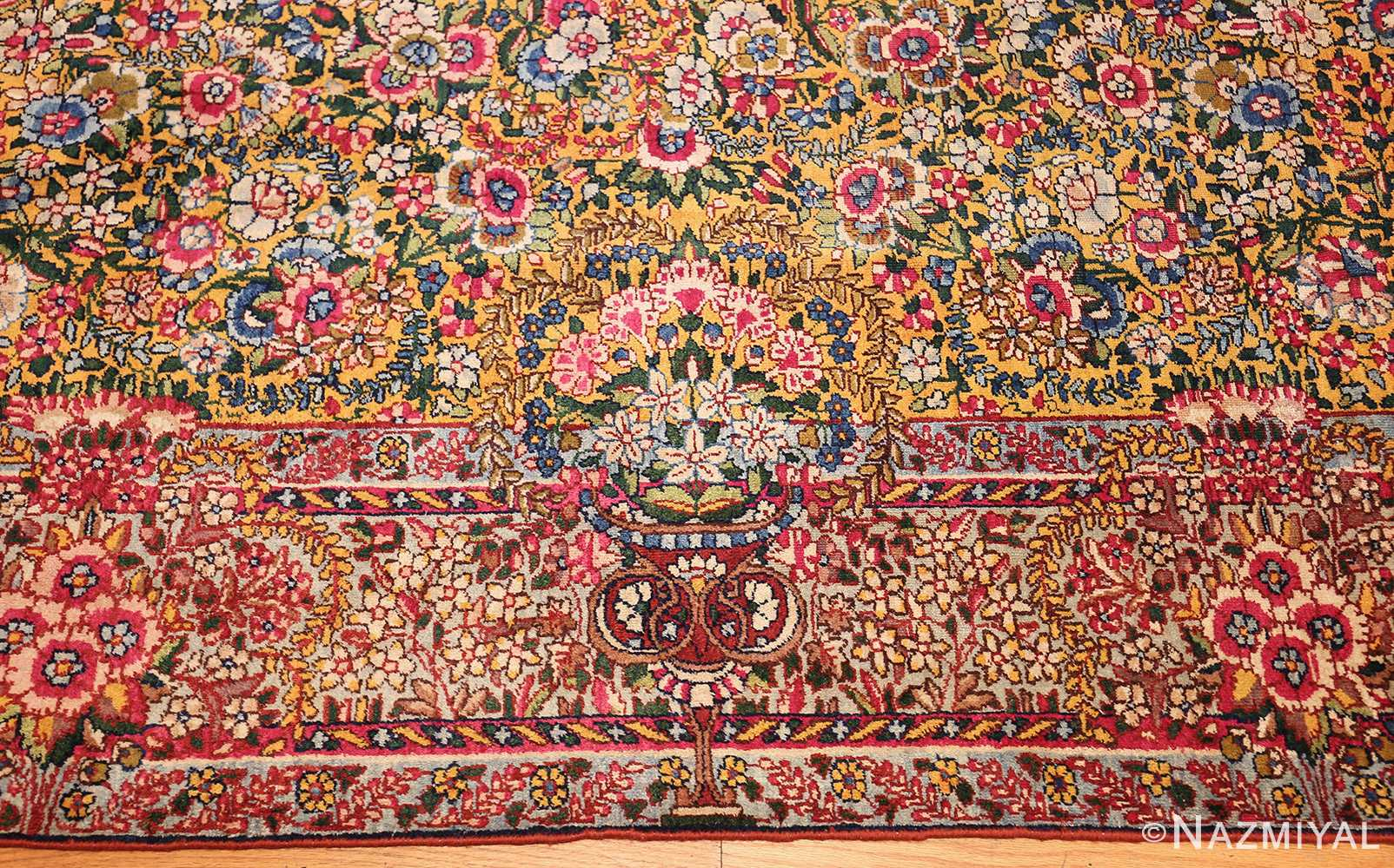 saffron yellow antique persian kerman rug 48659 border Nazmiyal