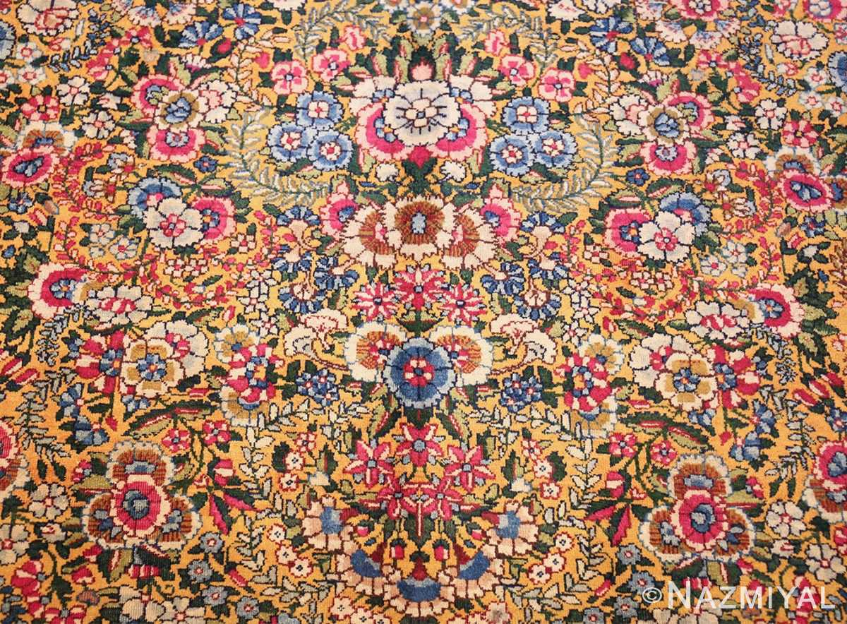 saffron yellow antique persian kerman rug 48659 center Nazmiyal
