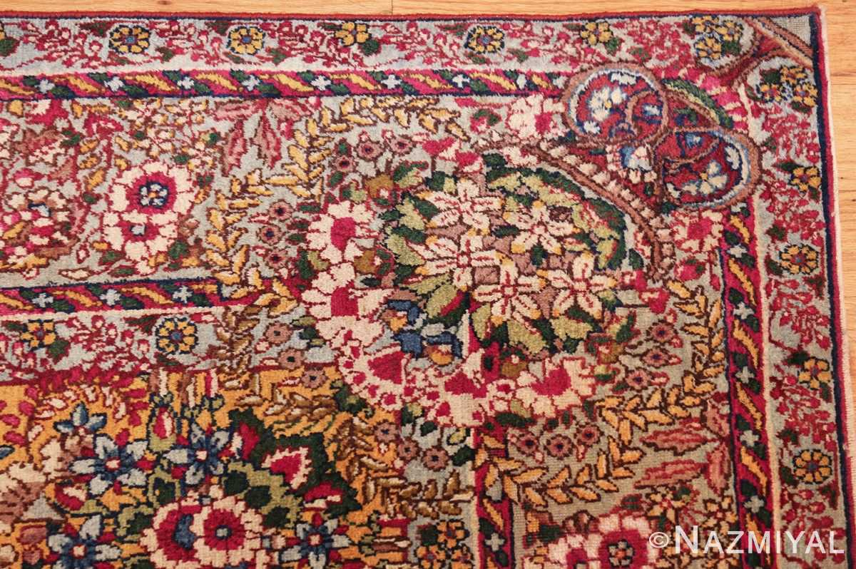 saffron yellow antique persian kerman rug 48659 corner Nazmiyal