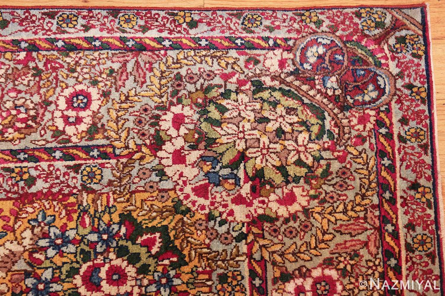 saffron yellow antique persian kerman rug 48659 corner Nazmiyal