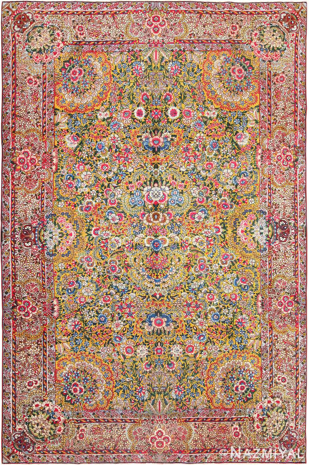 saffron yellow antique persian kerman rug 48659 Nazmiyal