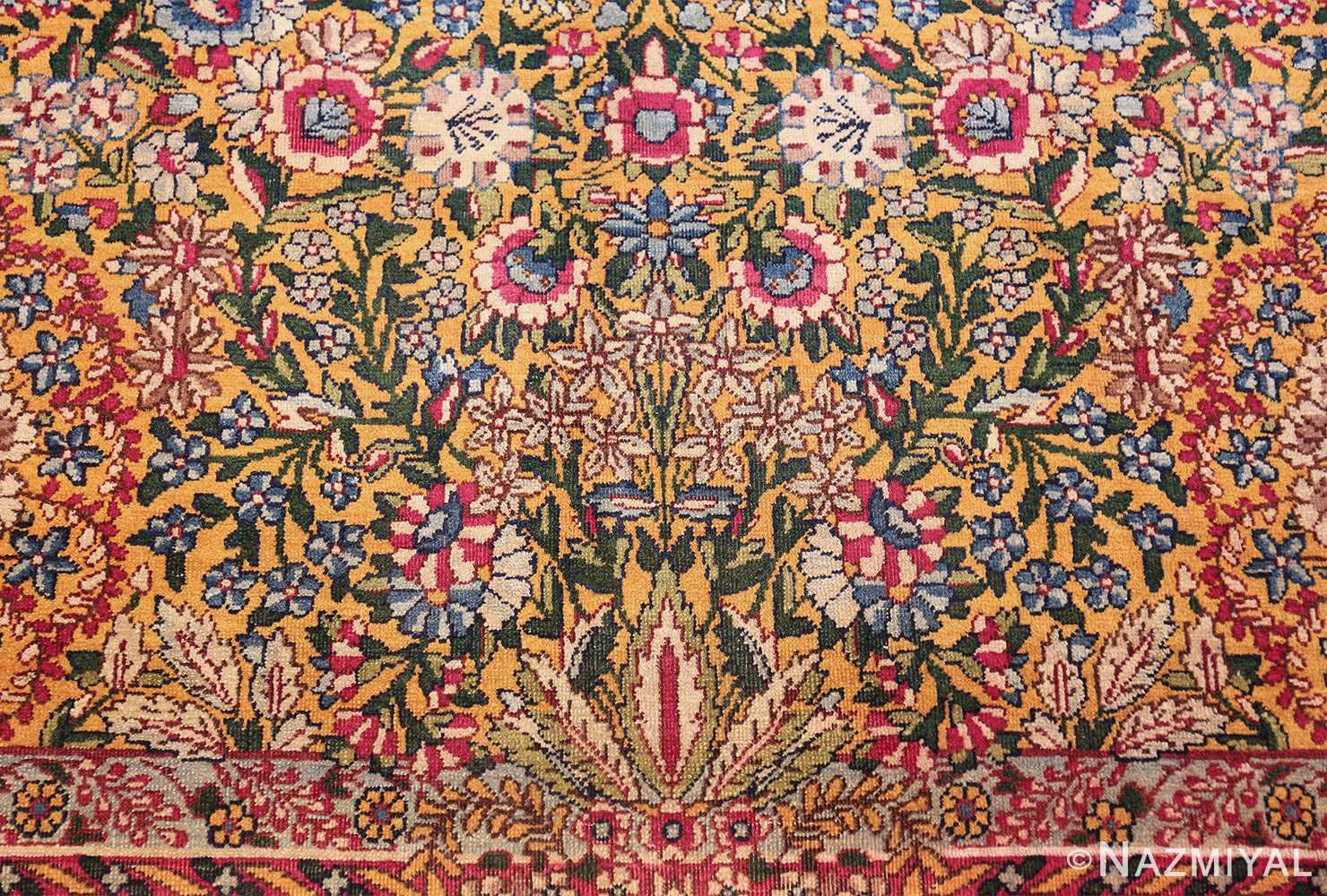 saffron yellow antique persian kerman rug 48659 Nazmiyal vase