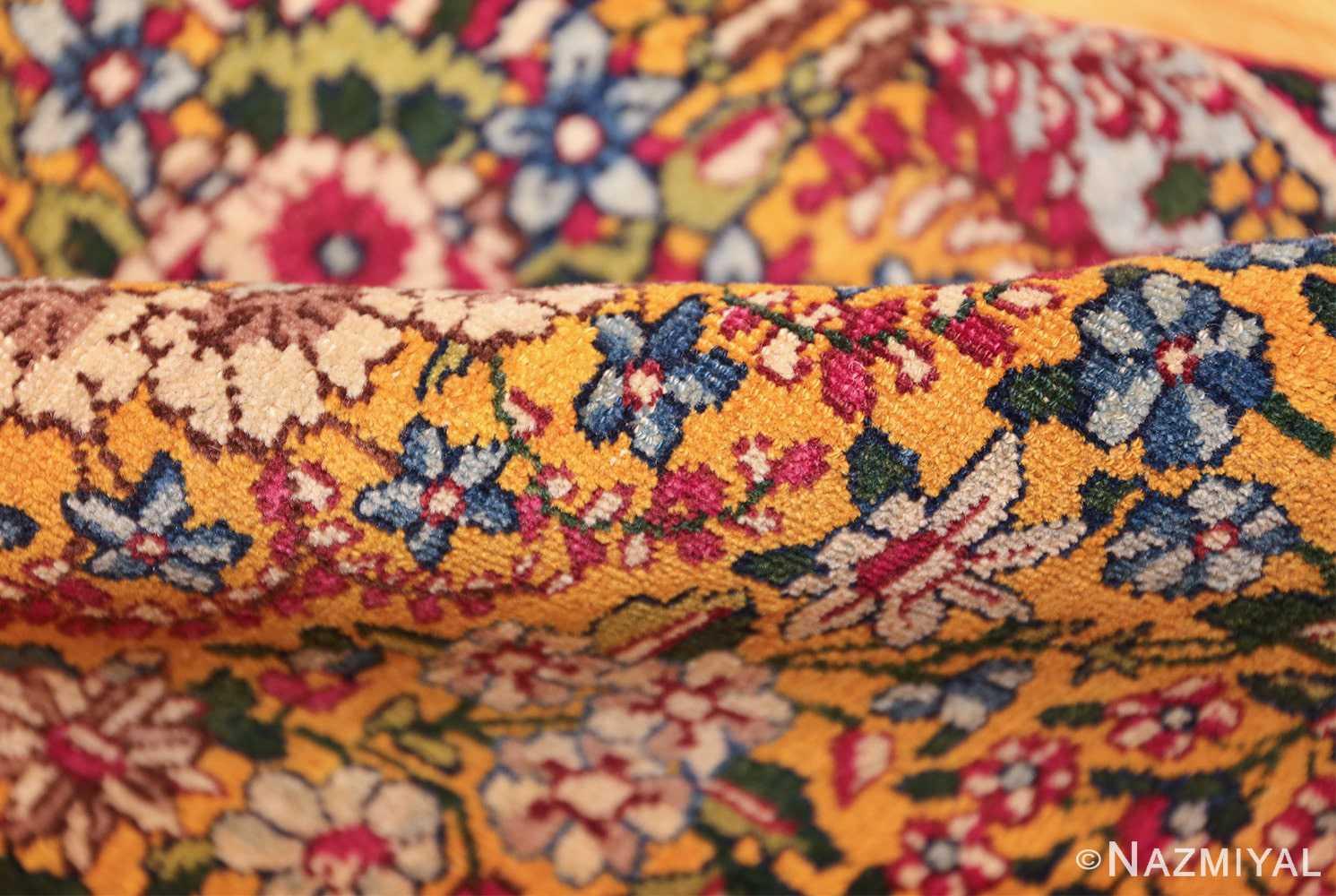 saffron yellow antique persian kerman rug 48659 pile Nazmiyal