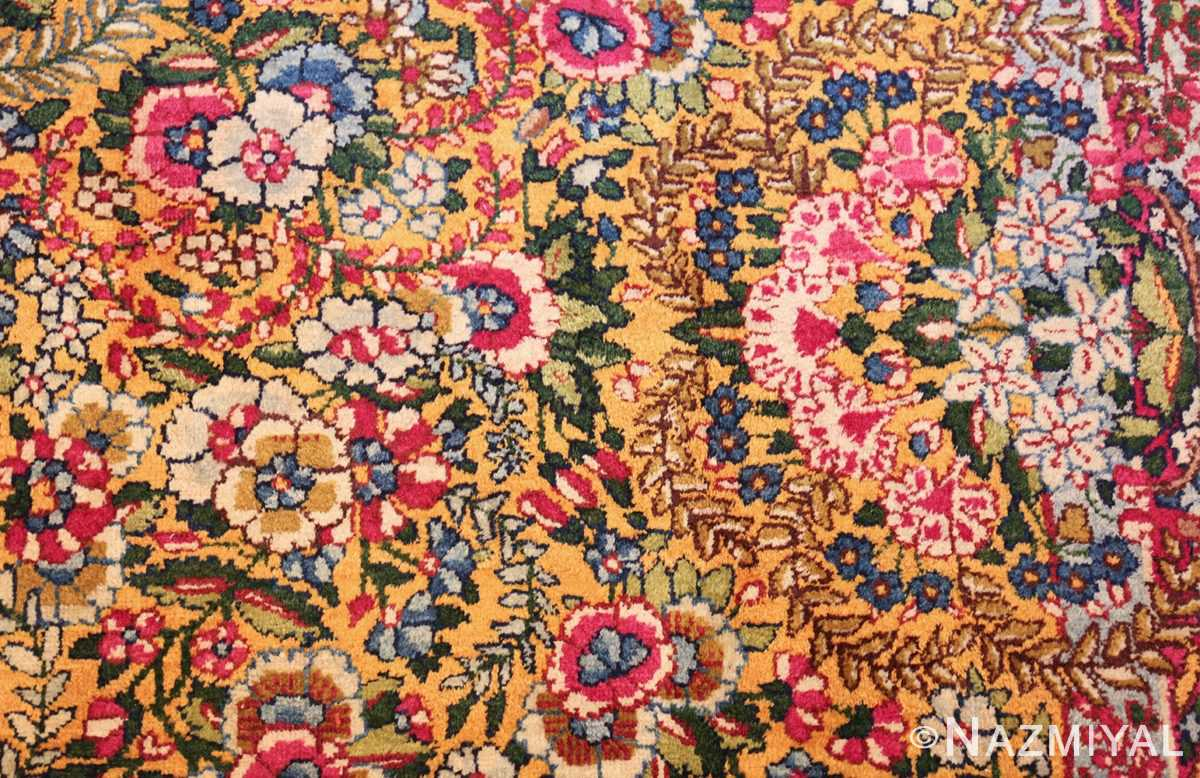 saffron yellow antique persian kerman rug 48659 side Nazmiyal