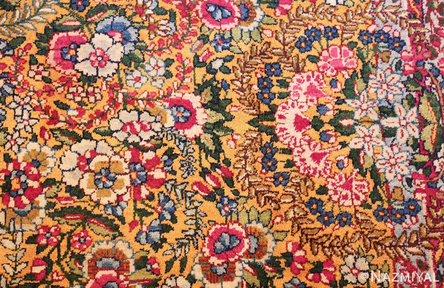 saffron yellow antique persian kerman rug 48659 side Nazmiyal