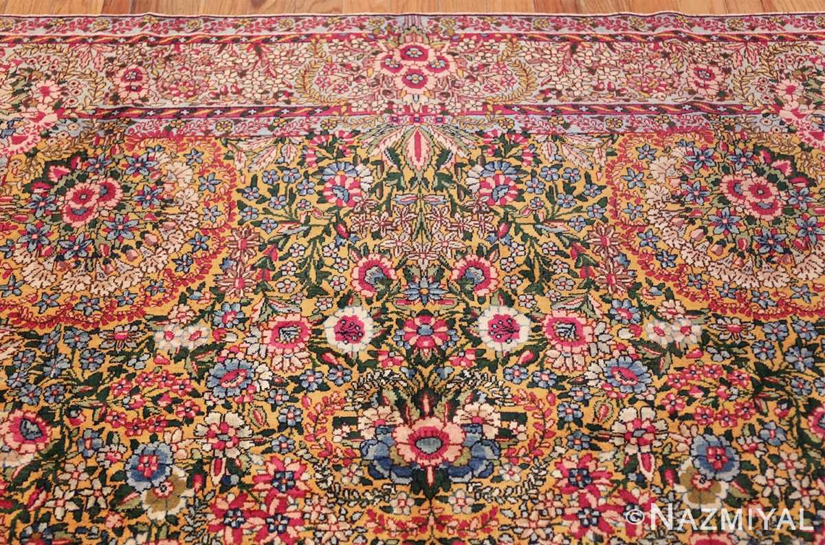 saffron yellow antique persian kerman rug 48659 top Nazmiyal