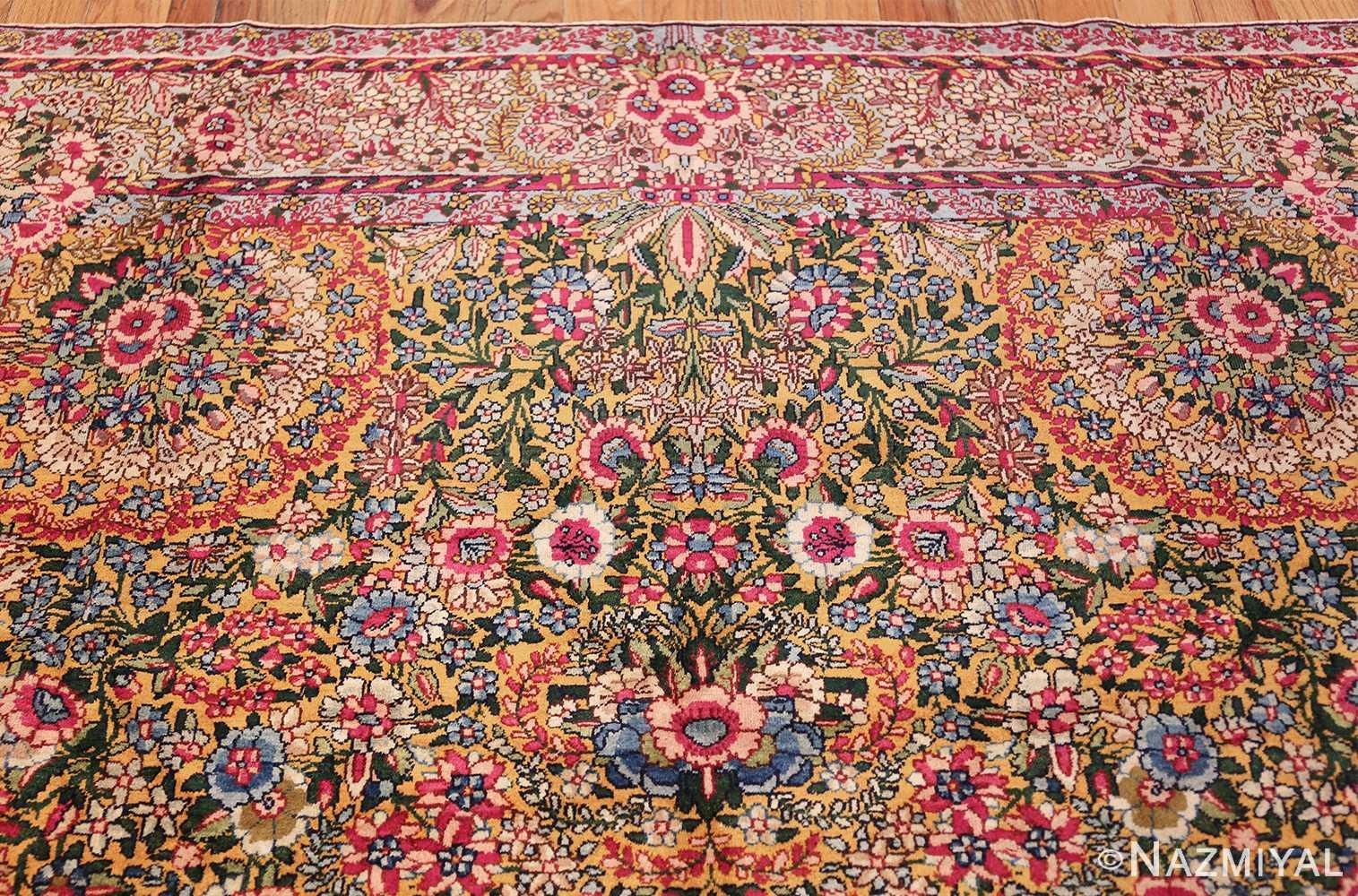 saffron yellow antique persian kerman rug 48659 top Nazmiyal