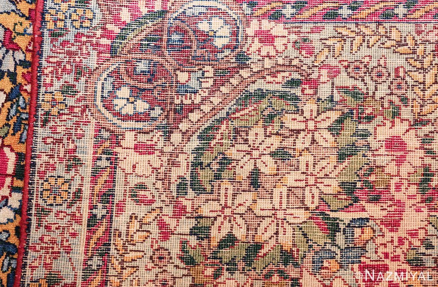 saffron yellow antique persian kerman rug 48659 weave Nazmiyal