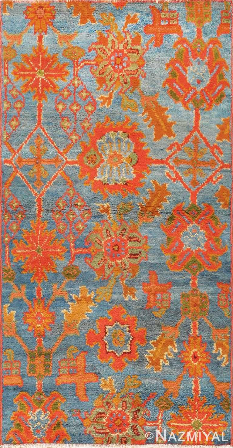 Scatter Size Light Blue Antique Oushak Rug 47627 Nazmiyal