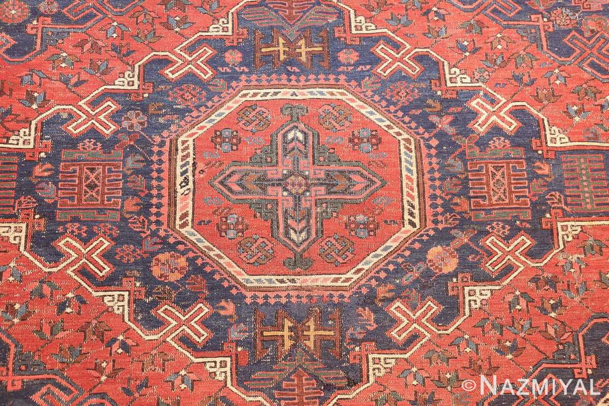 tribal antique caucasian soumak rug 50365 medallion Nazmiyal