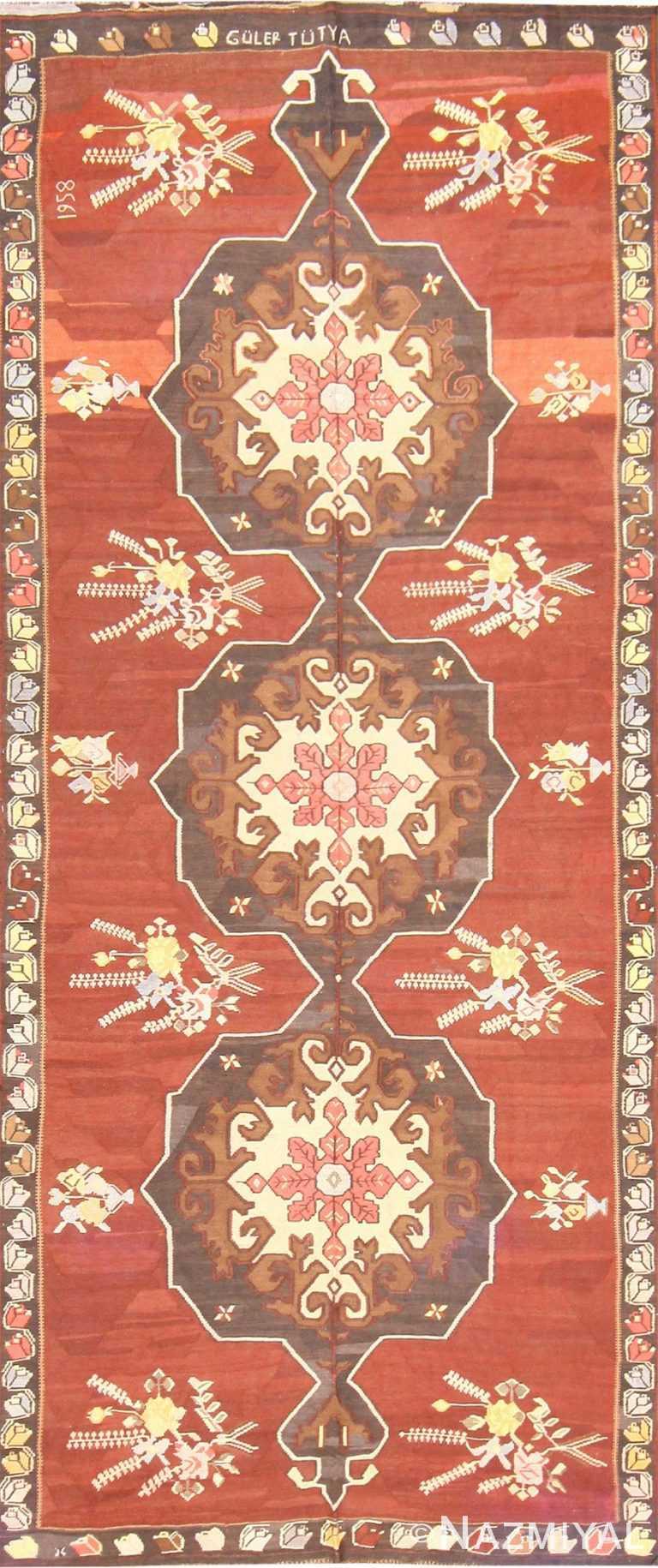 Vintage Mid Century Turkish Kilim Rug 50350 Nazmiyal