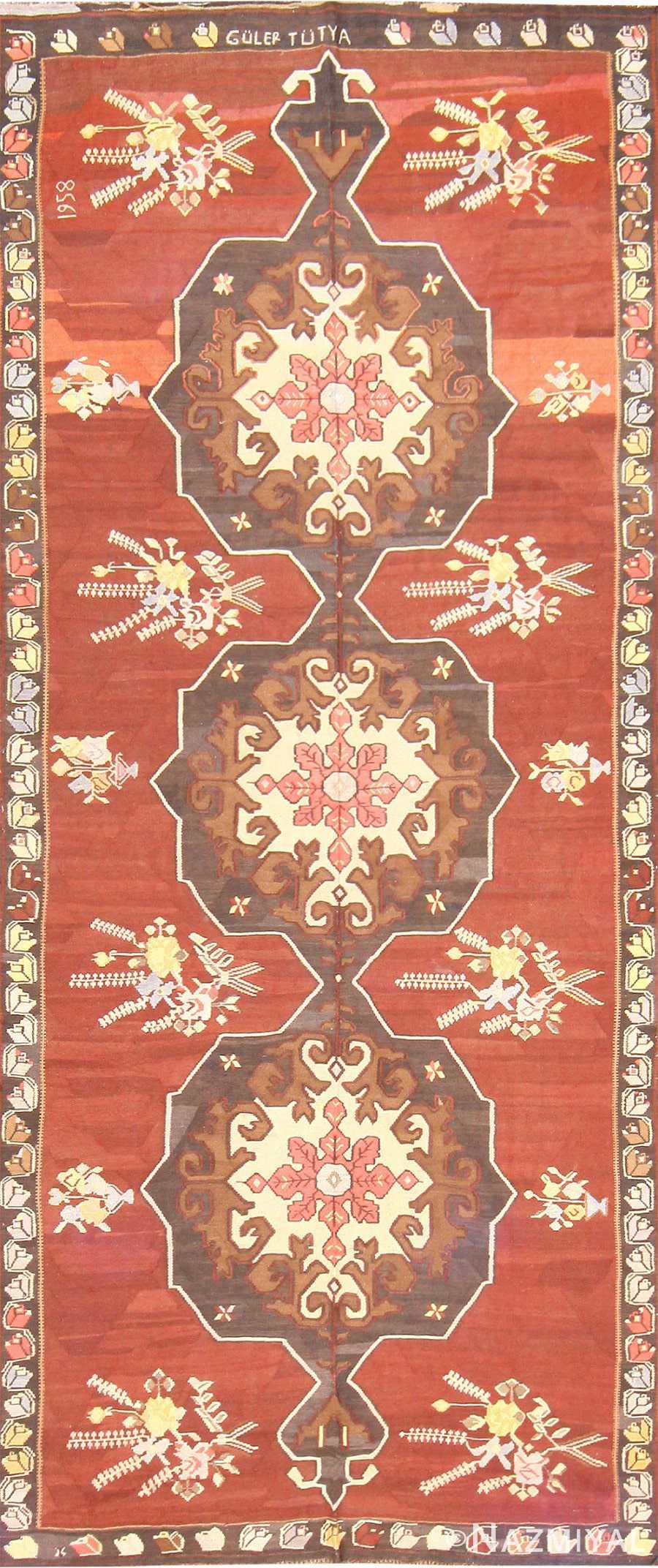 Vintage Mid Century Turkish Kilim Rug