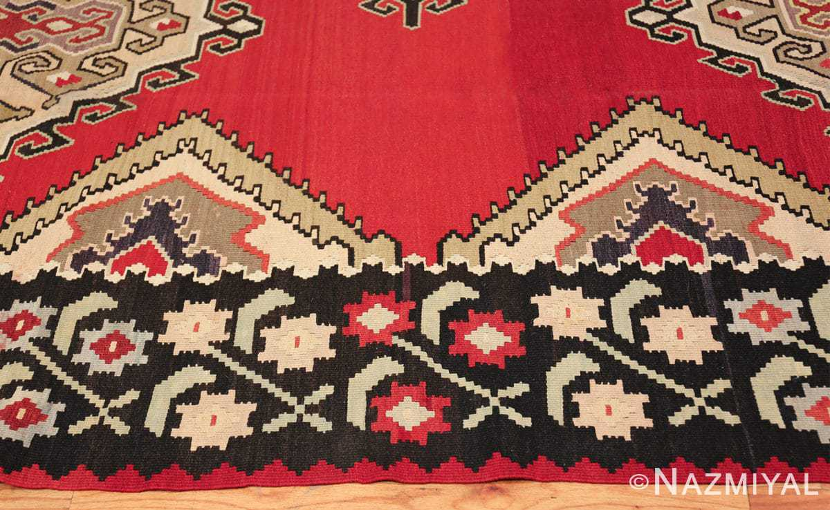 vintage red background turkish kilim rug 50381 border Nazmiyal