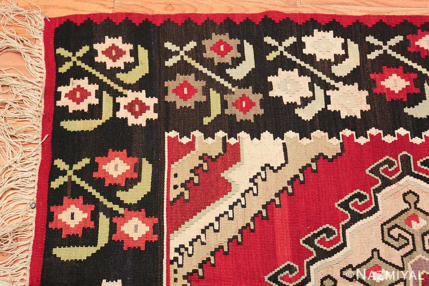 vintage red background turkish kilim rug 50381 corner Nazmiyal