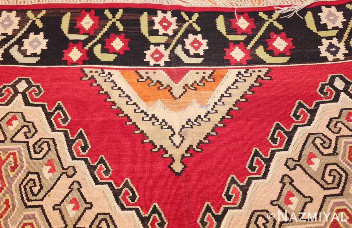 vintage red background turkish kilim rug 50381 design Nazmiyal