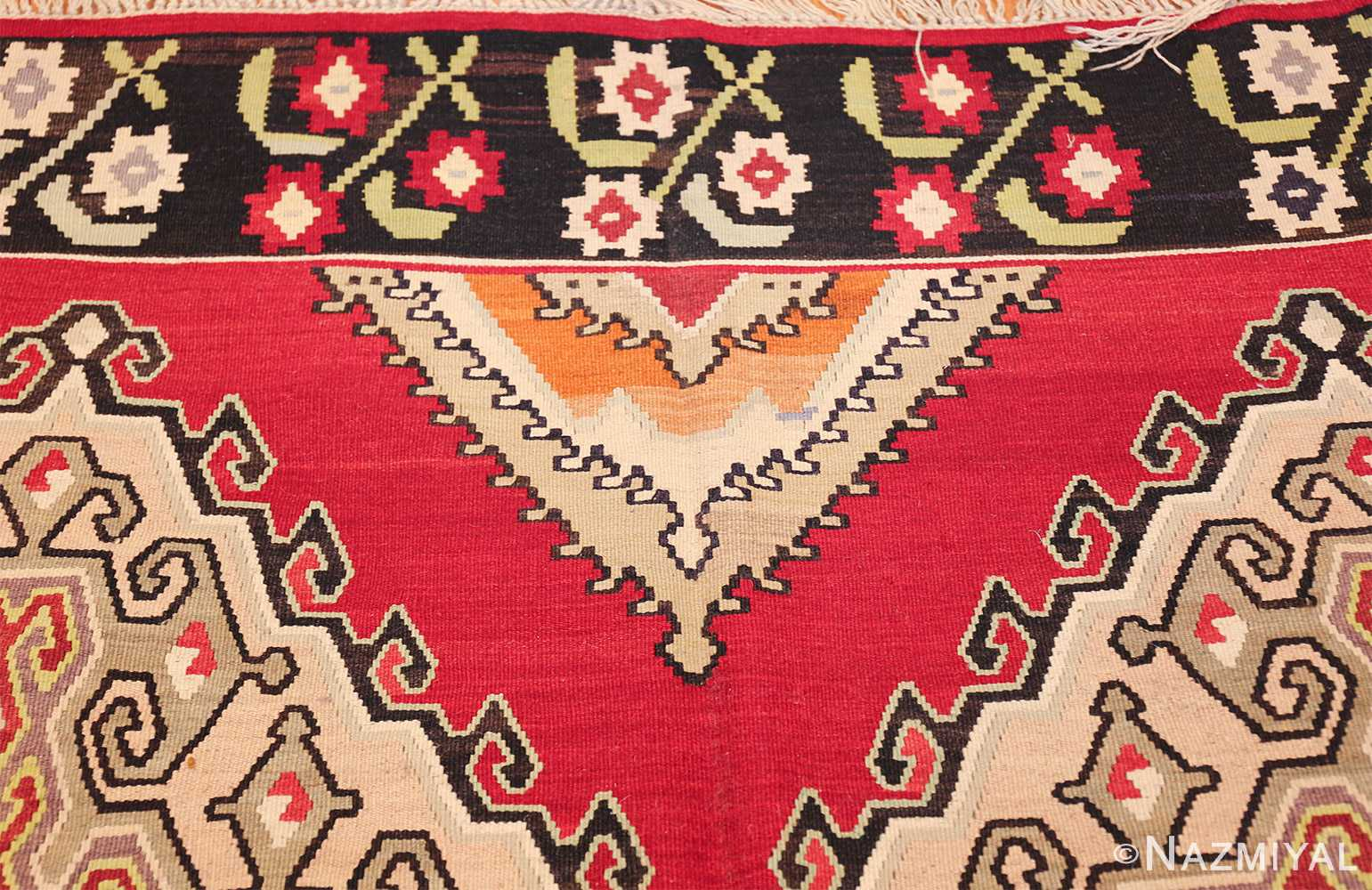 vintage red background turkish kilim rug 50381 design Nazmiyal