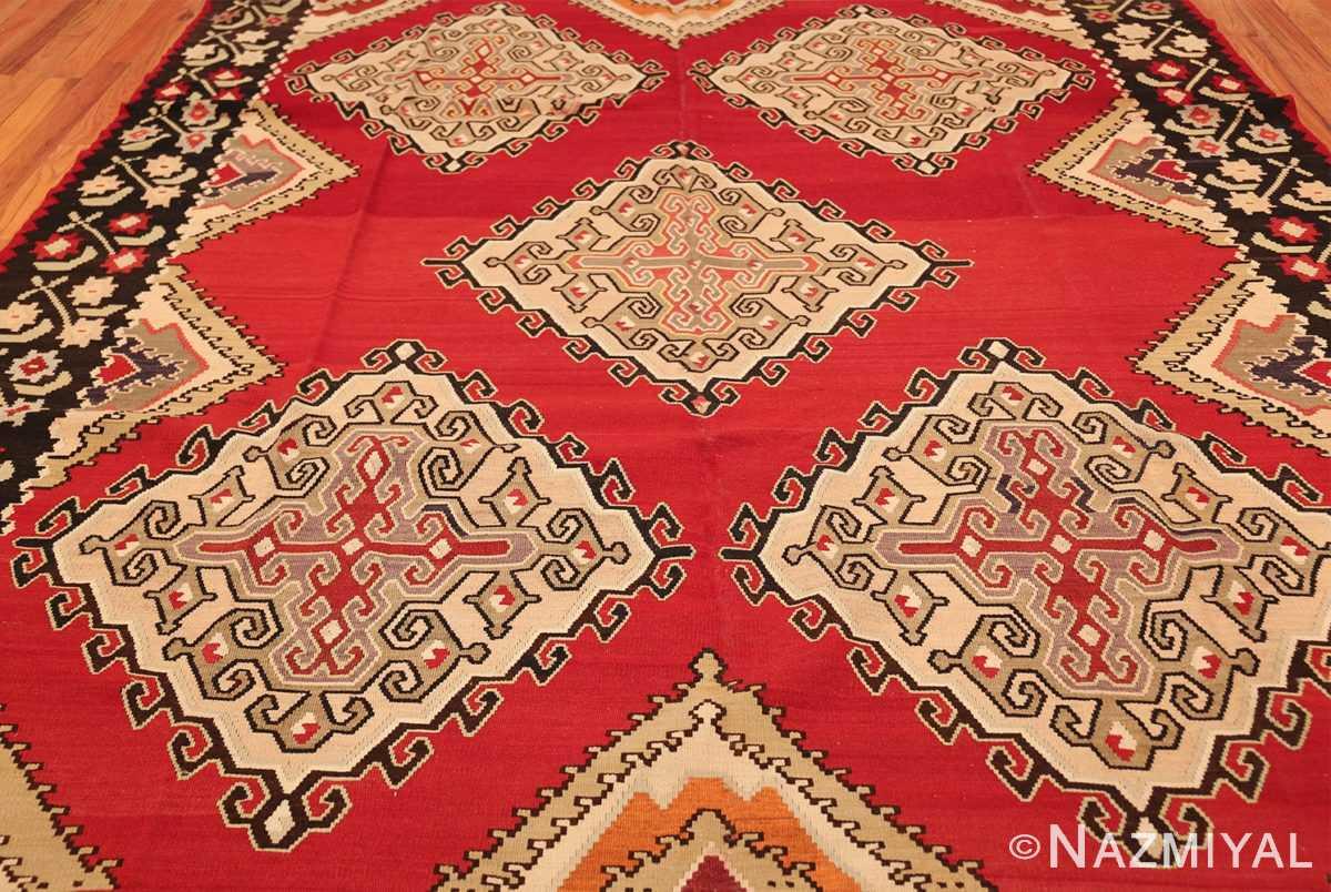 vintage red background turkish kilim rug 50381 field Nazmiyal
