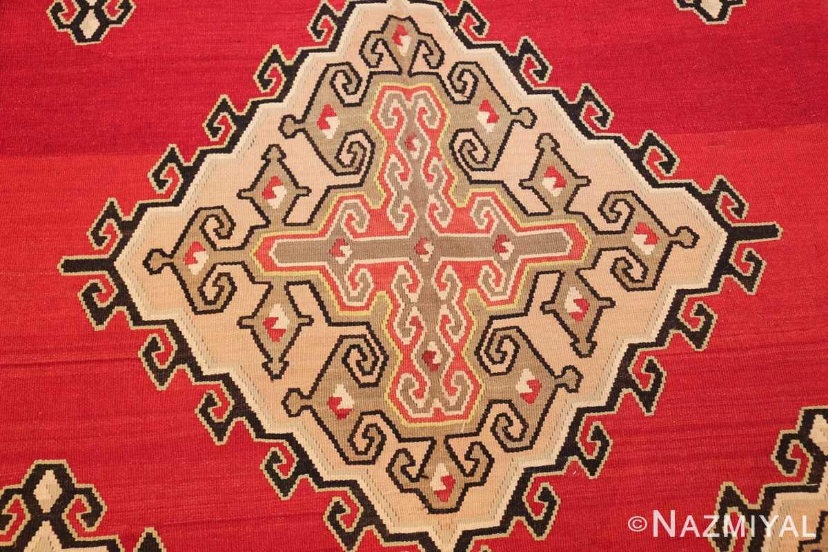 vintage red background turkish kilim rug 50381 medallion Nazmiyal