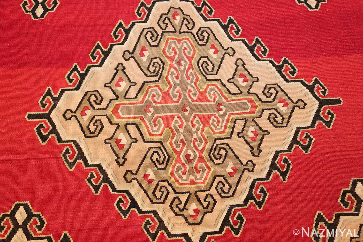 vintage red background turkish kilim rug 50381 medallion Nazmiyal