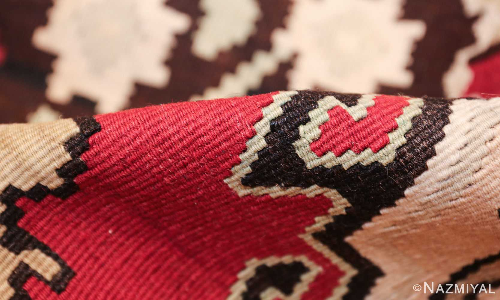 vintage red background turkish kilim rug 50381 pile Nazmiyal