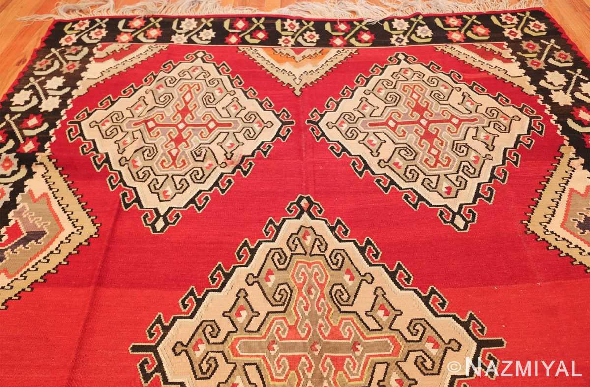 vintage red background turkish kilim rug 50381 top Nazmiyal