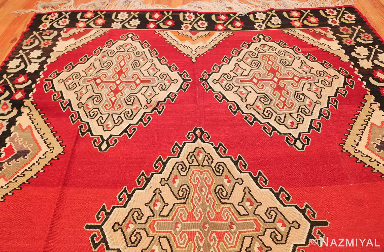 vintage red background turkish kilim rug 50381 top Nazmiyal
