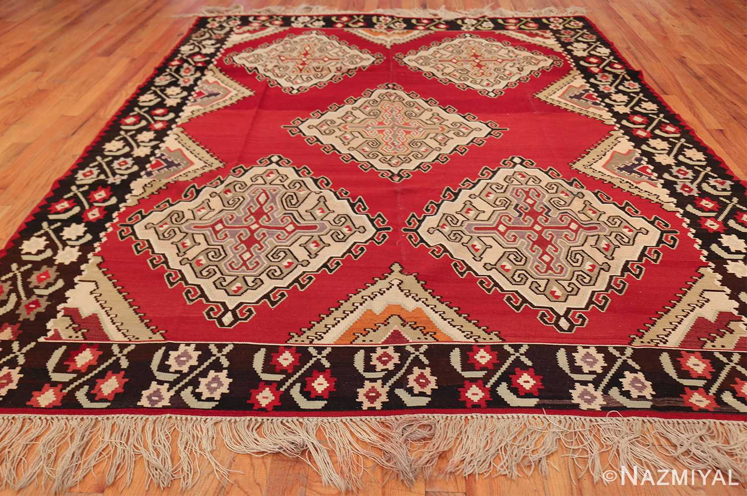 vintage red background turkish kilim rug 50381 whole Nazmiyal