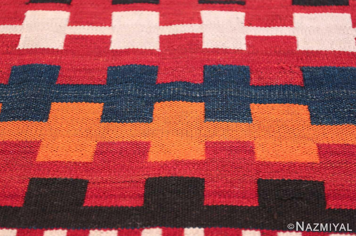 Vintage Tribal Turkish Kilim Rug 50382 Closeup Square Nazmiyal
