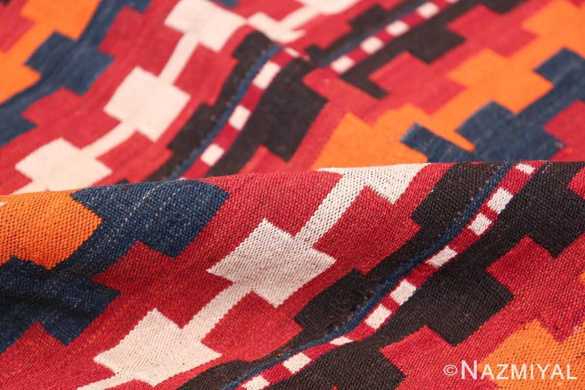 Vintage Tribal Turkish Kilim Rug 50382 Red Pile Nazmiyal