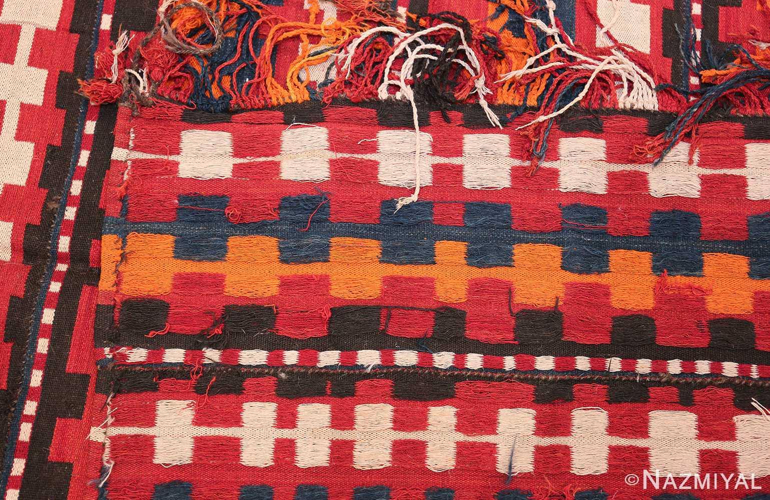 Vintage Tribal Turkish Kilim Rug 50382 Woven Knots Nazmiyal