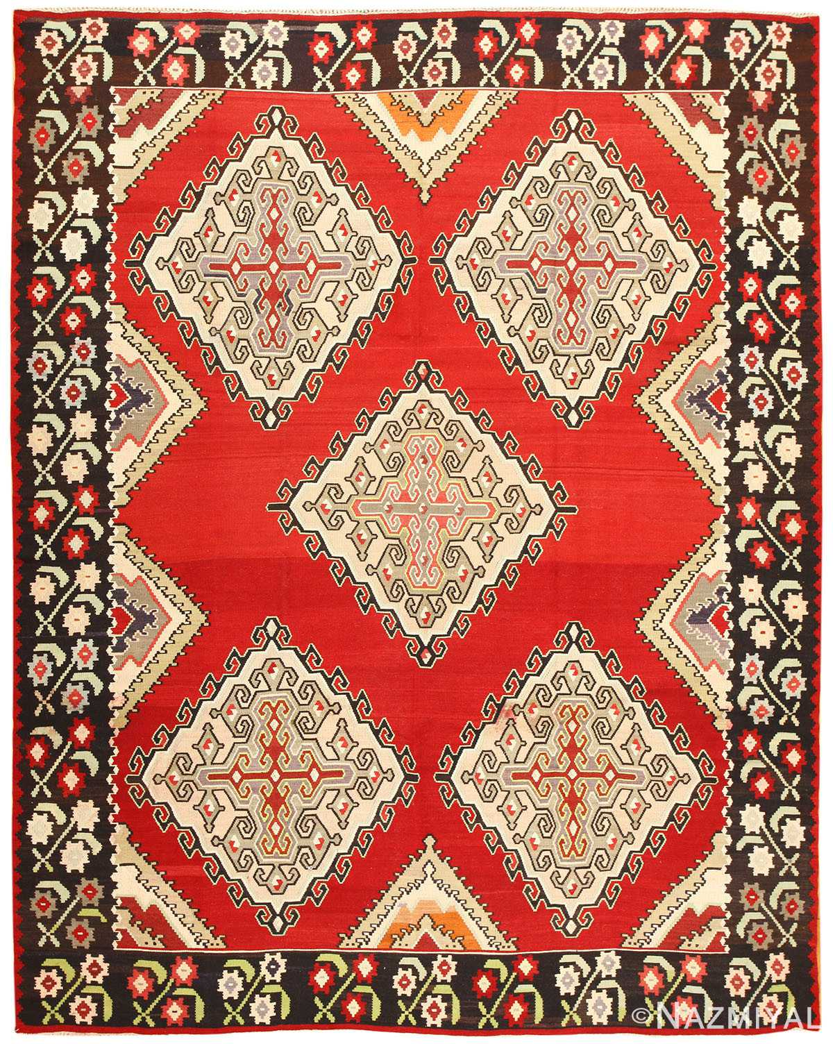 Vintage Turkish Kilim Rug 50381 Detail/Large View