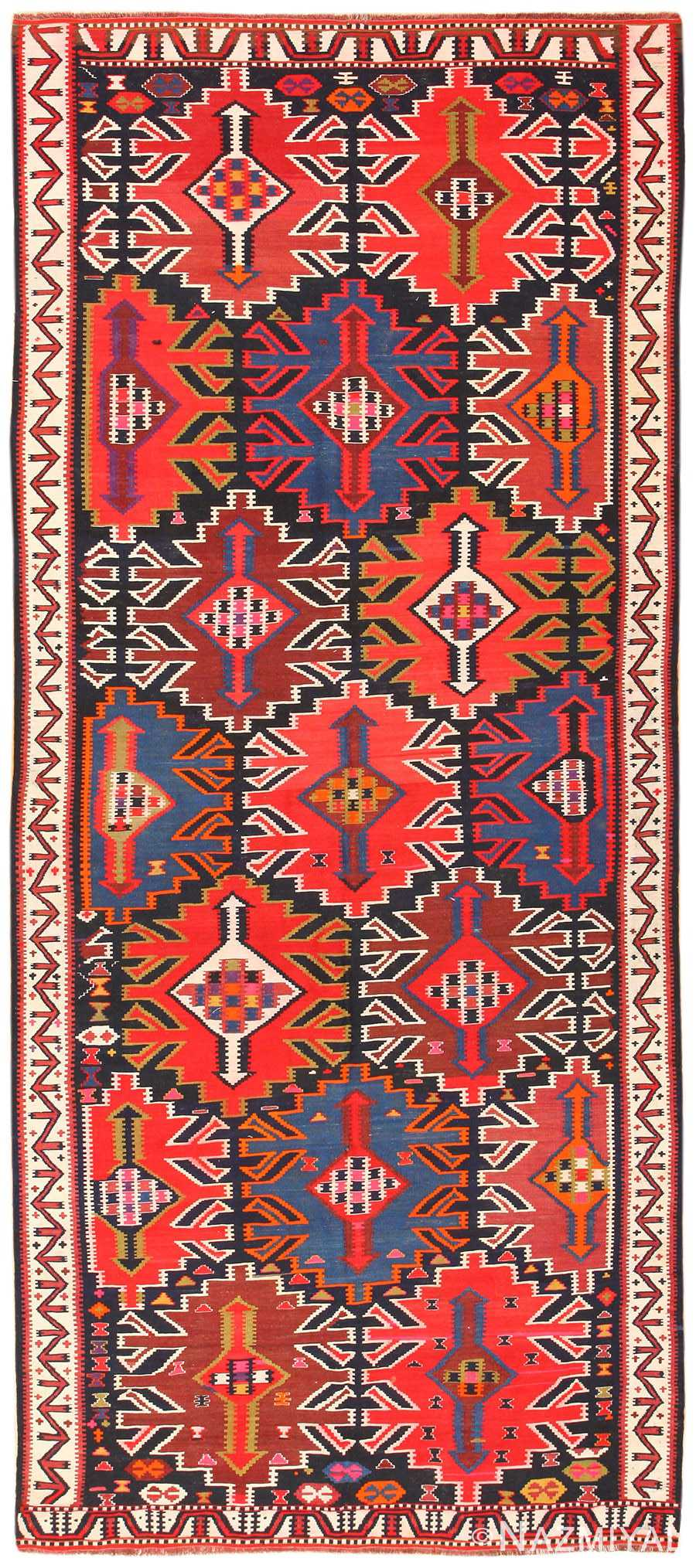 Vintage Turkish Kilim Rug 50421 Detail/Large View