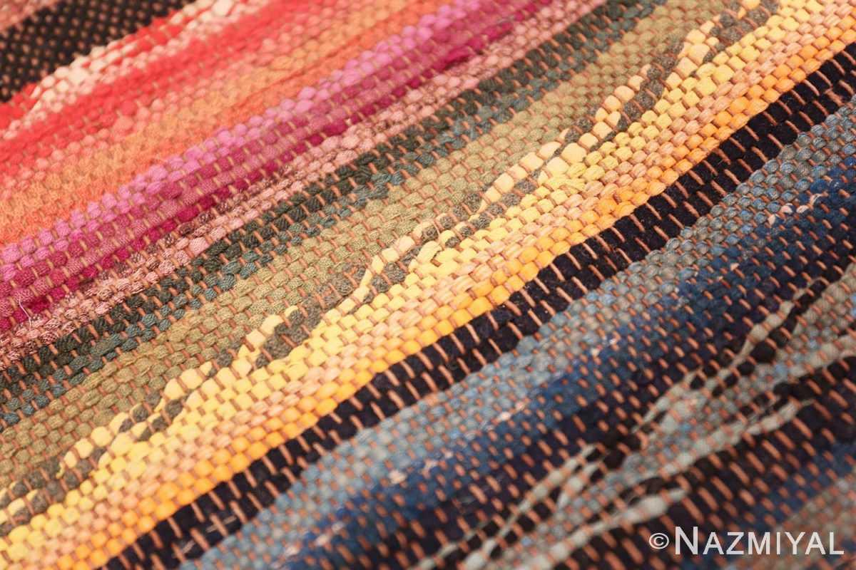 Weave detail Antique America rag rug 48669 by Nazmiyal