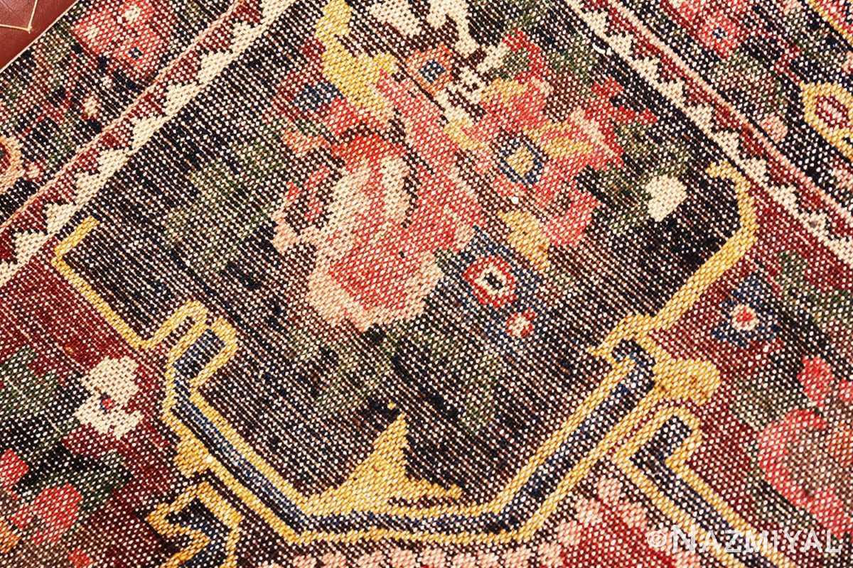 Weave detail Red floral Vintage Persian Bakhtiari rug 50429 by Nazmiyal